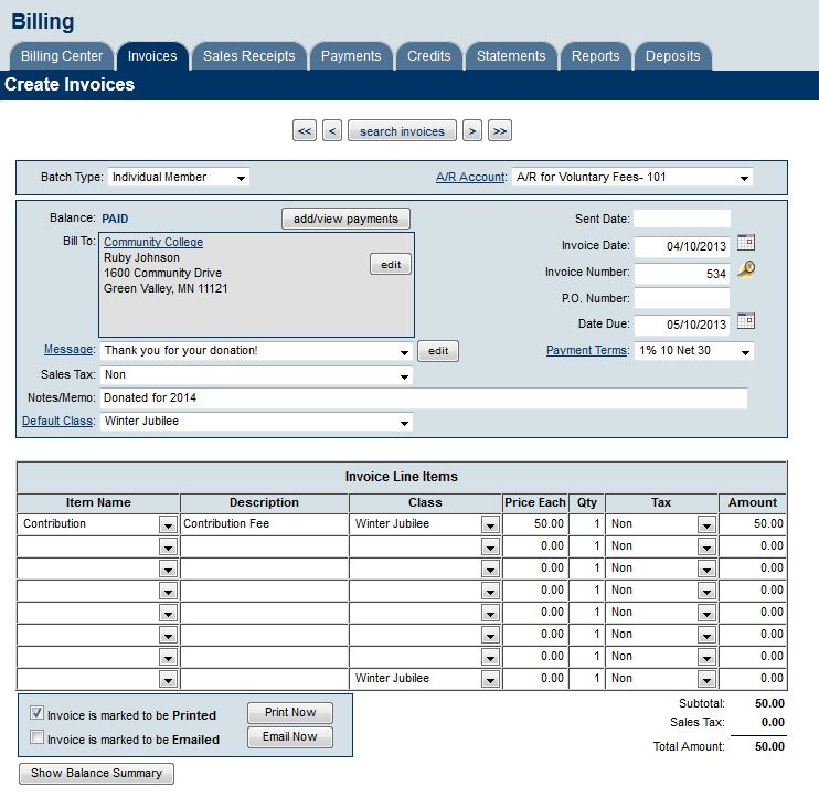 Integrated Billing Creating an Invoice